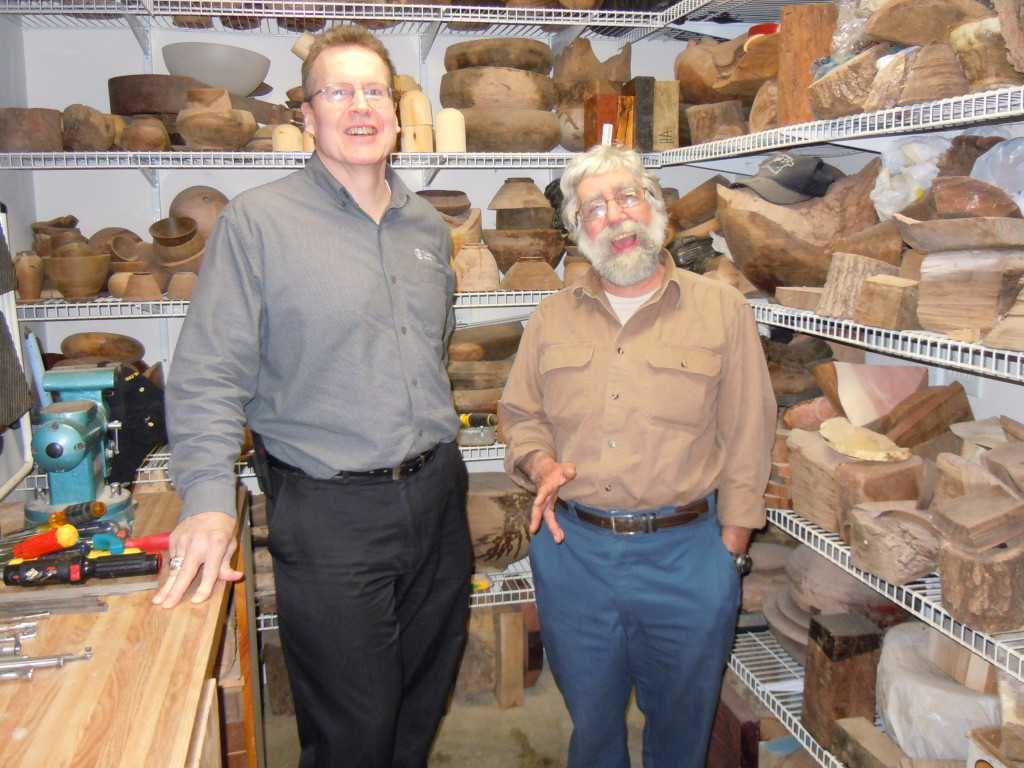 Al Stirt's visit to Chris' shop after a Woodturning Guild demonstration