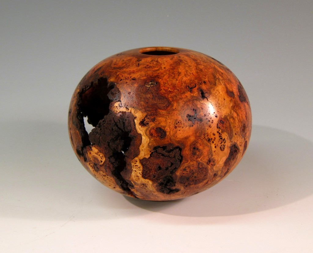 "Cherry Burl Hollow Vessel 8"" x 6"" (Wood from Duke Forest)"