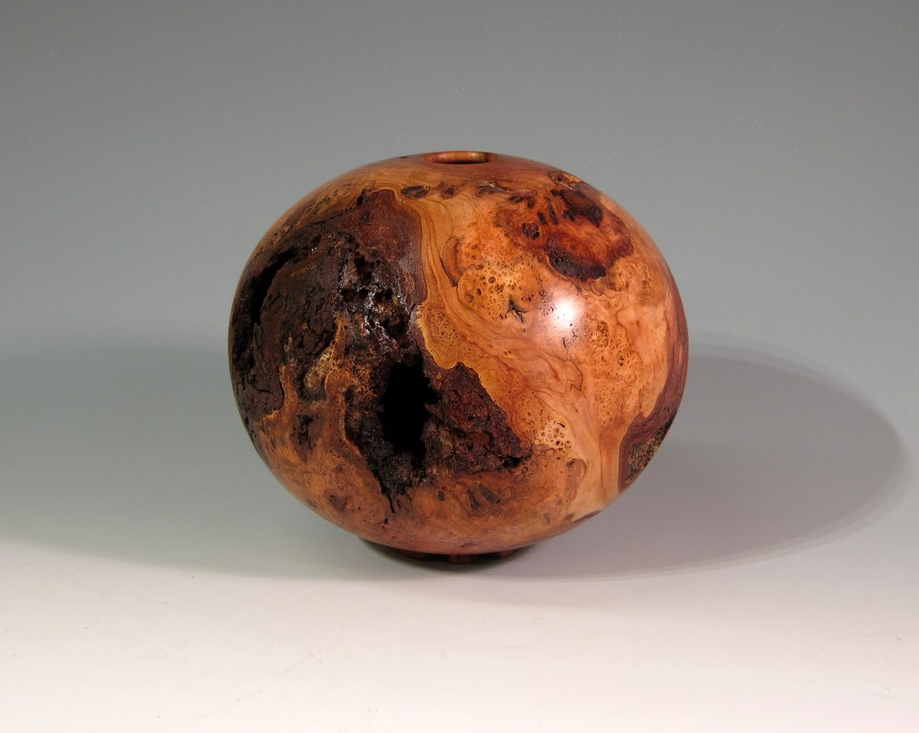 Cherry Burl Hollow Vessel 8 x 7