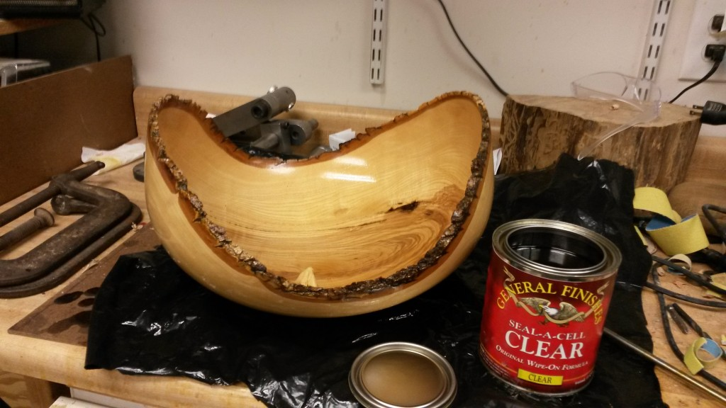 White Ash Natural Edge Piece, oiling in progress.