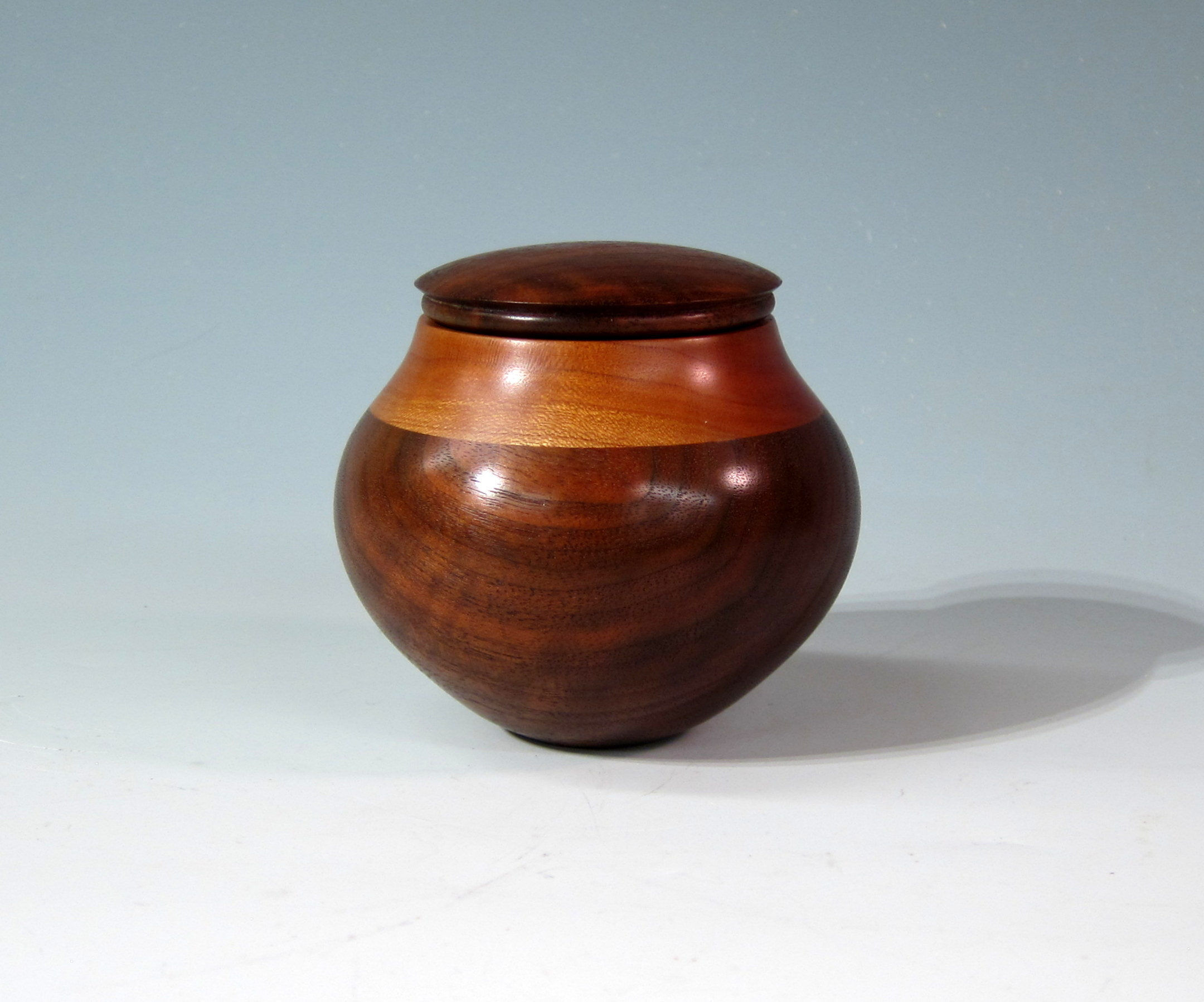 "Chris Boerner -- 4"" x 4"" Lidded Segmented Walnut and Cherry Box"